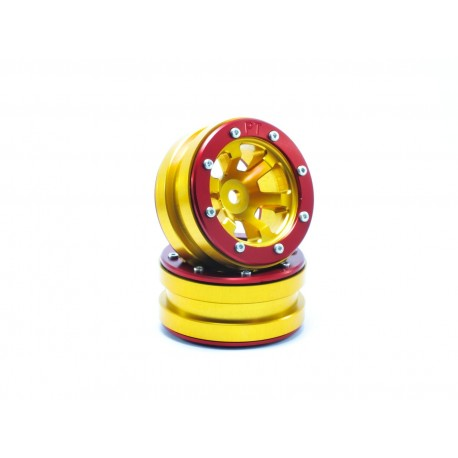 Beadlock Wheels PT- Claw Gold/Red  1.9 (2 pcs)