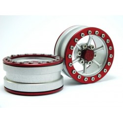Jantes de Beadlock PT-Power Silver/Red1.9 (2 pcs)
