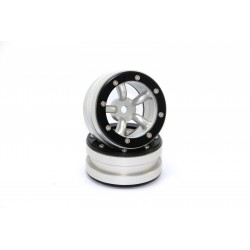 Beadlock Wheels PT-Safari Silver/Black 1.9 (2 pcs)
