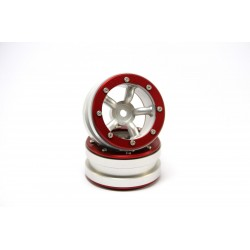 BEADLOCK WHEELS PT-SAFARI SILVER/RED 1.9 (2 PCS)