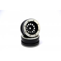 Beadlock Wheels PT-Bullet Black/Silver 1.9 (2 pcs)