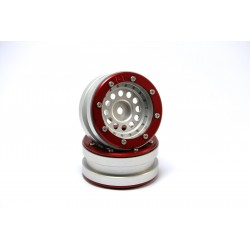 Beadlock Wheels PT-Bullet Silver/Red 1.9 (2 pcs)