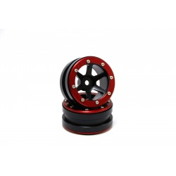 Beadlock Wheels PT- Slingshot Black/Red 1.9 (2 pcs)