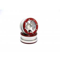 Beadlock Wheels PT- Slingshot Silver/Red 1.9 (2 pcs)