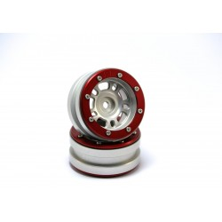Beadlock Wheels PT- Distractor Silver/Red 1.9 (2 pcs)