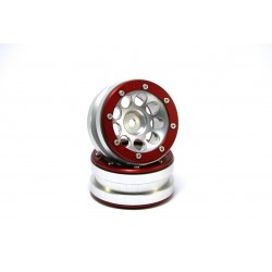 Beadlock Wheels PT- Ecohole Silver/Red 1.9 (2 pcs)